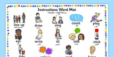New EAL Starter Instructions Word Mat Arabic Translation