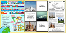 Europe Geography Countries Landmarks and Natural Features Teaching Pack