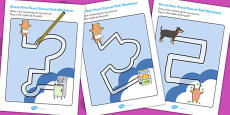 Pencil Control Path Worksheets to Support Teaching on Biscuit Bear