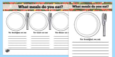 Meal Time Writing Templates