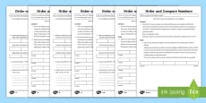 Year 5 Order and Compare Numbers Mastery Differentiated Activity Sheets