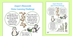 EYFS Home Learning Challenge Sheet Nursery FS1 to Support Teaching on Jasper's Beanstalk
