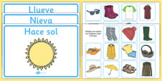 Weather Clothes Sorting Activity Spanish