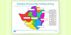 Zimbabwe Provinces Map Labelling Activity