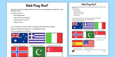 Odd Flag Out Quadrilateral Recognition Activity Sheet
