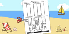 Seaside Themed Number Sequencing Puzzle