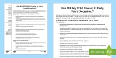 How Your Child Develops in Early Years Parent and Carer Information Sheet