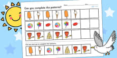 Seaside Themed Complete the Pattern Worksheet
