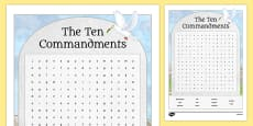 Ten Commandments Word Search Activity Sheet
