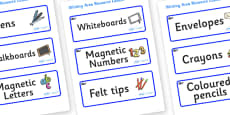 Blue Whale Themed Editable Writing Area Resource Labels