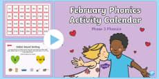 Phase 3 February Phonics Activity Calendar PowerPoint