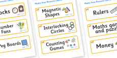 Fox Themed Editable Maths Area Resource Labels