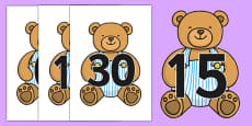 Numbers 0-30 on Teddy Bears