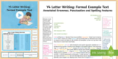Y4 Letter Writing: Formal Model/Example Text