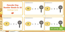 Pancake Day Number Bonds to 10 Challenge Cards