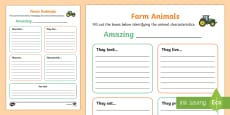 Farm Animal Information Writing Frames