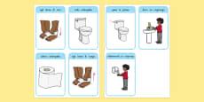 Mahi wharepaku Toilet Procedure Flashcards Te Reo Māori