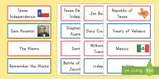 * NEW * Texas Independence Word Cards