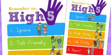 High Five How To Deal with Bullying Large Display Poster A2 (Australia)