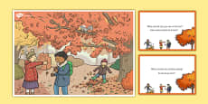 Autumn Woods Scene and Question Cards Polish Translation