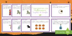 Tarjetas de desafío de matemáticas - Fracciones en Halloween