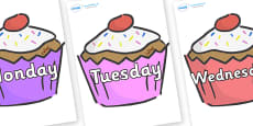 Days of the Week on Cupcakes
