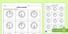 Citirea ceasului la ora fixă și la și jumătate - Fișă de lucru