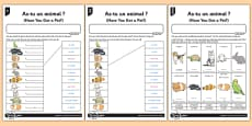 French Activity Sheet As Tu Un Animal