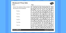 Multiplication 9 Times Tables Wordsearch Activity Sheet