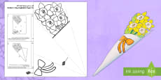 * NEW * Mother's Day Paper Flower Bouquet Daffodils Arabic/English