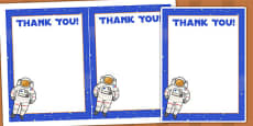 Space Themed Birthday Party Thank You Cards