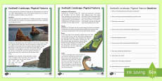 Scotland's Landscape Physical Features Differentiated Reading Comprehension Activity