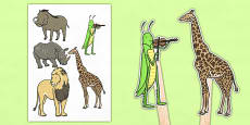 Dancing Giraffe Themed Stick Puppets