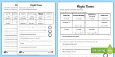 KS1 Time Activity Sheet Pack Flight Times