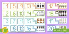 Tarjetas de emparejar: Los números - El transporte