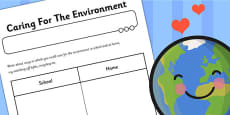 Caring For The Environment Worksheet