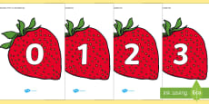 Numbers 0-31 on Strawberries