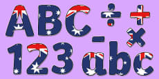 Australian Flag Display Lettering