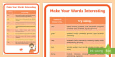 * NEW * Make Your Words Interesting A4 Display Poster