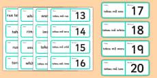 Numbers 1-20 Loop Cards Te Reo Māori