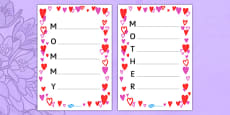Mother's Day Acrostic Poem Sheets Hearts