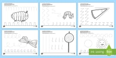 Pencil Control Activity Sheets to Support Teaching on The Very Hungry Caterpillar English/Arabic