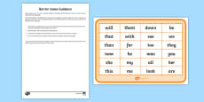 Phase 3 High Frequency Words Counters Barrier Game Activity Sheet