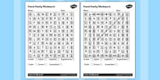 French Family Members Wordsearch