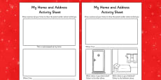Aistear Christmas and The Post Office My Home and Address Activity Sheet