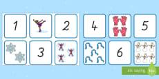 Winter: Zahlen und Bilder von 1 bis 10 Puzzle Spiel