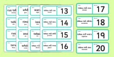 Numbers 1-20 Loop Cards Te Reo Māori Translation