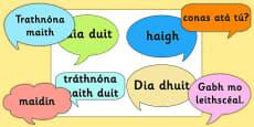 Social Greetings Prompt Cards Gaeilge