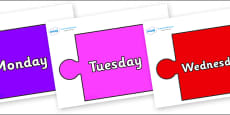Days of the Week on Jigsaw Pieces