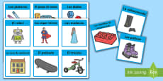 Toys Word Cards Spanish